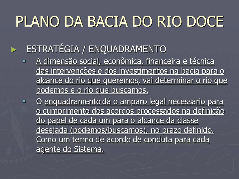 PLANO DA BACIA DO RIO DOCE ESTRATÉGIA / ENQUADRAMENTO ESTRATÉGIA / ENQUADRAMENTO A dimensão social, econômica, financeira e técnica das intervenções e