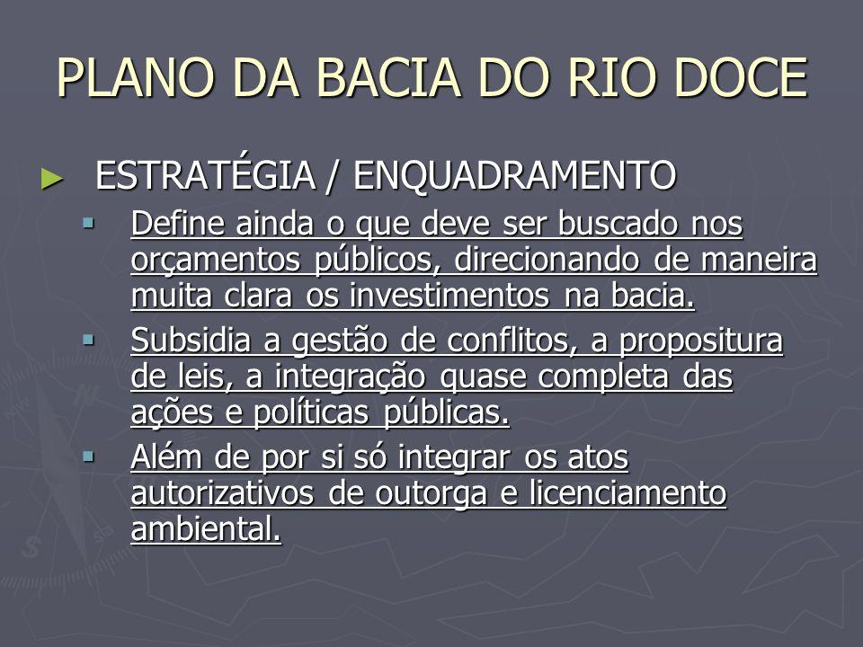PLANO DA BACIA DO RIO DOCE ESTRATÉGIA / ENQUADRAMENTO ESTRATÉGIA / ENQUADRAMENTO Define ainda o que deve ser buscado nos orçamentos públicos, direcion