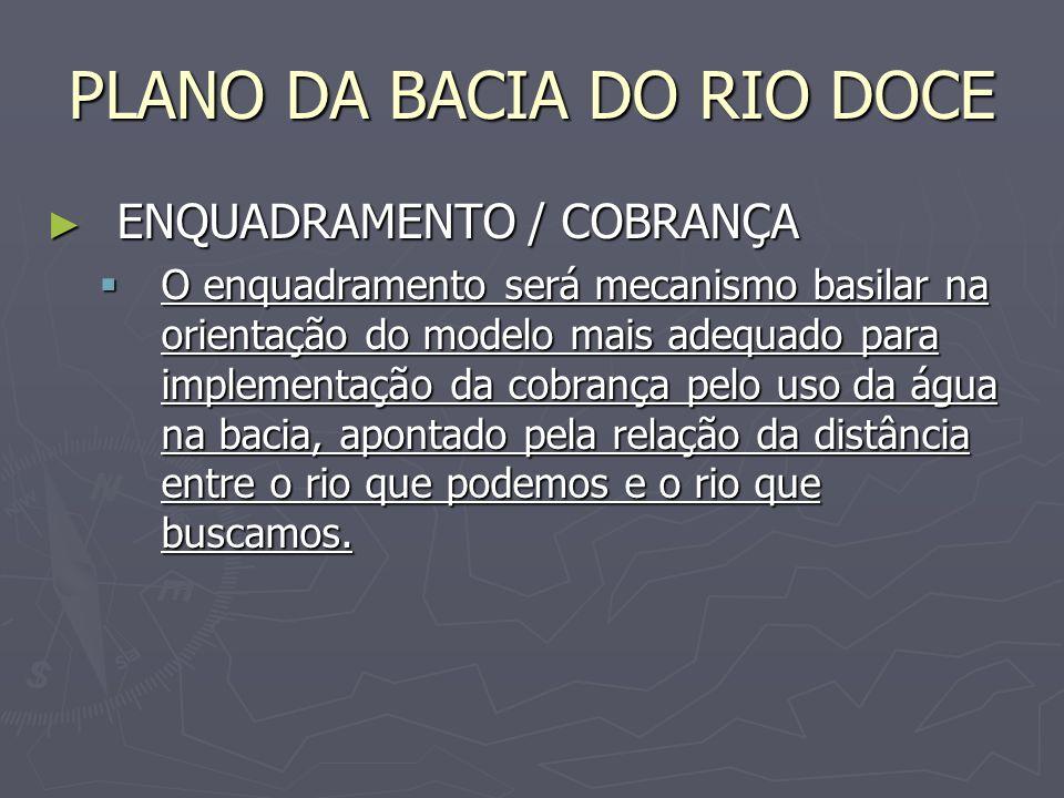 PLANO DA BACIA DO RIO DOCE ENQUADRAMENTO / COBRANÇA ENQUADRAMENTO / COBRANÇA O enquadramento será mecanismo basilar na orientação do modelo mais adequ