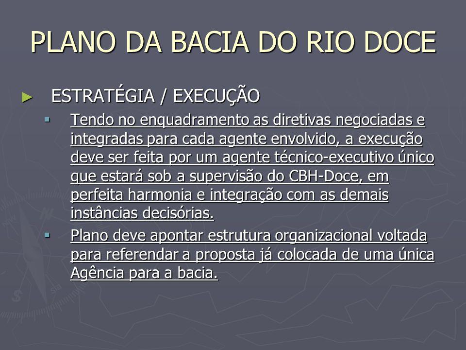 PLANO DA BACIA DO RIO DOCE ESTRATÉGIA / EXECUÇÃO ESTRATÉGIA / EXECUÇÃO Tendo no enquadramento as diretivas negociadas e integradas para cada agente en
