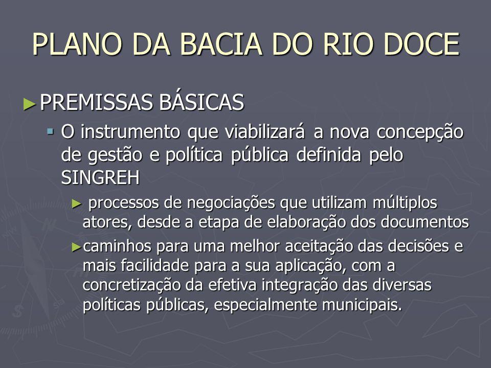 PLANO DA BACIA DO RIO DOCE PREMISSAS BÁSICAS PREMISSAS BÁSICAS O instrumento que viabilizará a nova concepção de gestão e política pública definida pe
