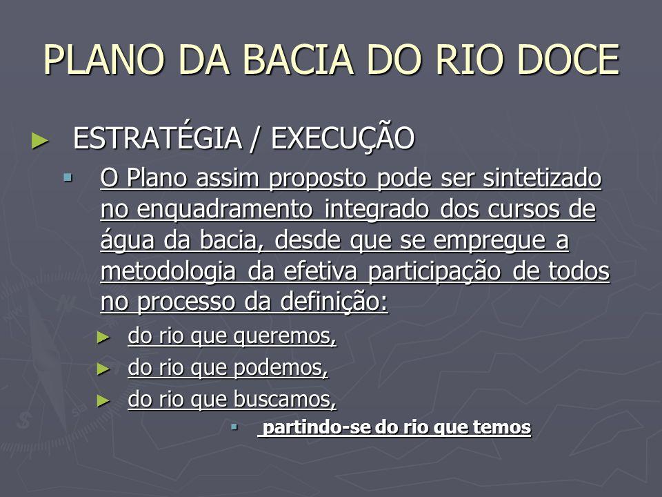 PLANO DA BACIA DO RIO DOCE ESTRATÉGIA / EXECUÇÃO ESTRATÉGIA / EXECUÇÃO O Plano assim proposto pode ser sintetizado no enquadramento integrado dos curs