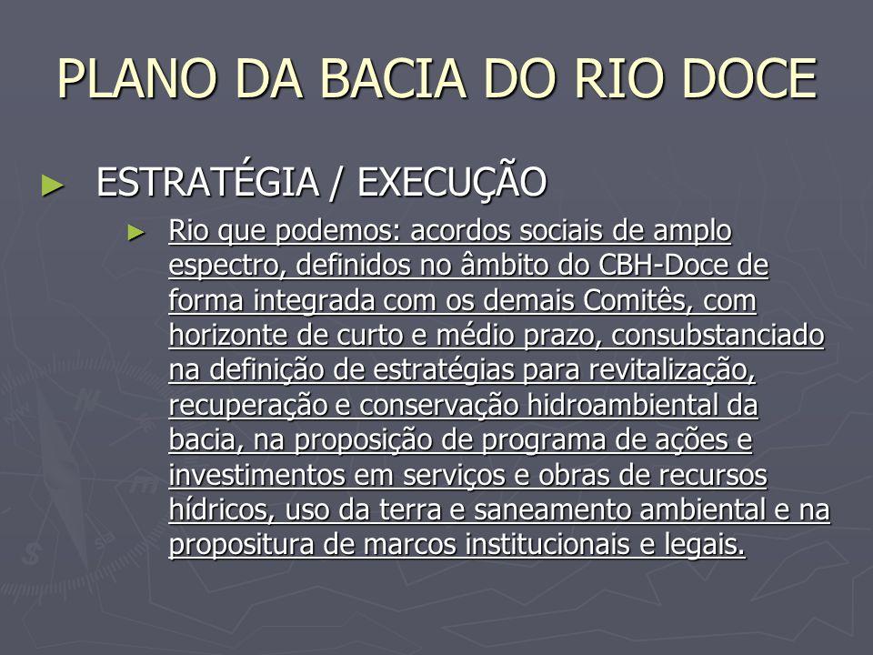 PLANO DA BACIA DO RIO DOCE ESTRATÉGIA / EXECUÇÃO ESTRATÉGIA / EXECUÇÃO Rio que podemos: acordos sociais de amplo espectro, definidos no âmbito do CBH-