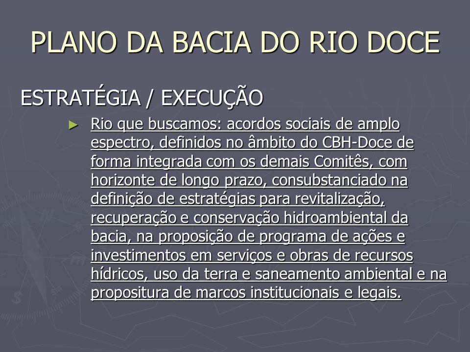 PLANO DA BACIA DO RIO DOCE ESTRATÉGIA / EXECUÇÃO Rio que buscamos: acordos sociais de amplo espectro, definidos no âmbito do CBH-Doce de forma integra