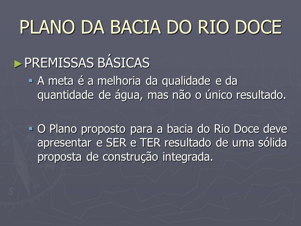 PLANO DA BACIA DO RIO DOCE ESTRATÉGIA / ENQUADRAMENTO ESTRATÉGIA / ENQUADRAMENTO O alcance das diretivas impostas pelo enquadramento só é possível com O alcance das diretivas impostas pelo enquadramento só é possível com a definição de estratégias para revitalização, recuperação e conservação hidroambiental da bacia a definição de estratégias para revitalização, recuperação e conservação hidroambiental da bacia a proposição de programa de ações e investimentos em serviços e obras de recursos hídricos, uso da terra e saneamento ambiental.