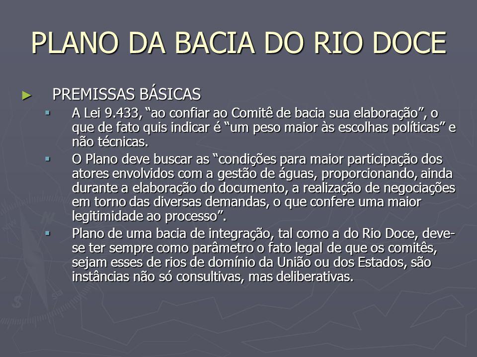 PLANO DA BACIA DO RIO DOCE ESTRATÉGIA / ENQUADRAMENTO ESTRATÉGIA / ENQUADRAMENTO As estratégias de revitalização e as ações de investimentos envolvem toda a gama de atuação da gestão ambiental e de recursos hídricos, inclusive a regularização dos usos através da outorga de uso das águas (fortalecimento dos Sistemas Nacional e Estaduais de Gerenciamento de Recursos Hídricos) e do licenciamento ambiental e ainda a definição de zonas de preservação e restrição de uso (especialmente no que se refere às águas subterrâneas).