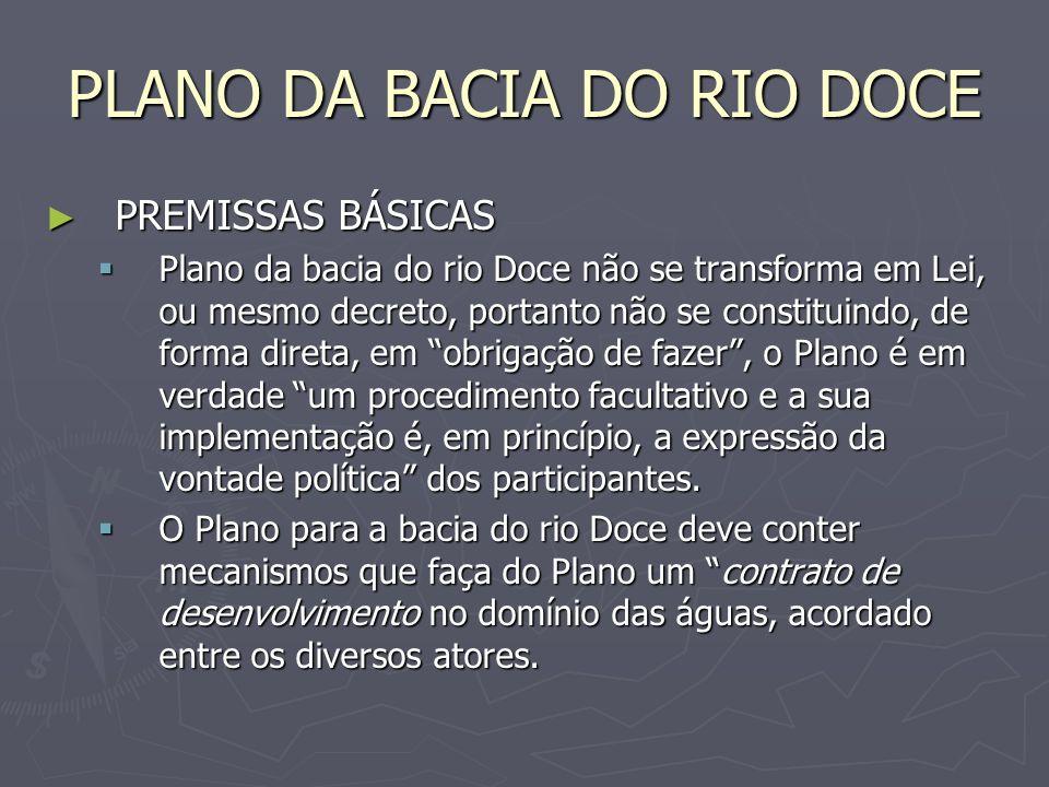PLANO DA BACIA DO RIO DOCE PREMISSAS BÁSICAS PREMISSAS BÁSICAS Plano deverá exigir a observância mais apurada de conceitos relativos aos requerimentos para a sustentabilidade de suas intervenções e, ainda, à aplicação do princípio da subsidiariedade, sempre que estiverem em questão definições relativas à divisão de trabalho entre o Plano da Bacia e os Planos de Recursos Hídricos das bacias afluentes do curso principal (mesmo que incipientes ou com necessidade de elaboração).