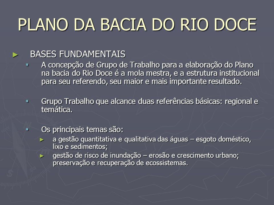 PLANO DA BACIA DO RIO DOCE BASES FUNDAMENTAIS BASES FUNDAMENTAIS A concepção de Grupo de Trabalho para a elaboração do Plano na bacia do Rio Doce é a