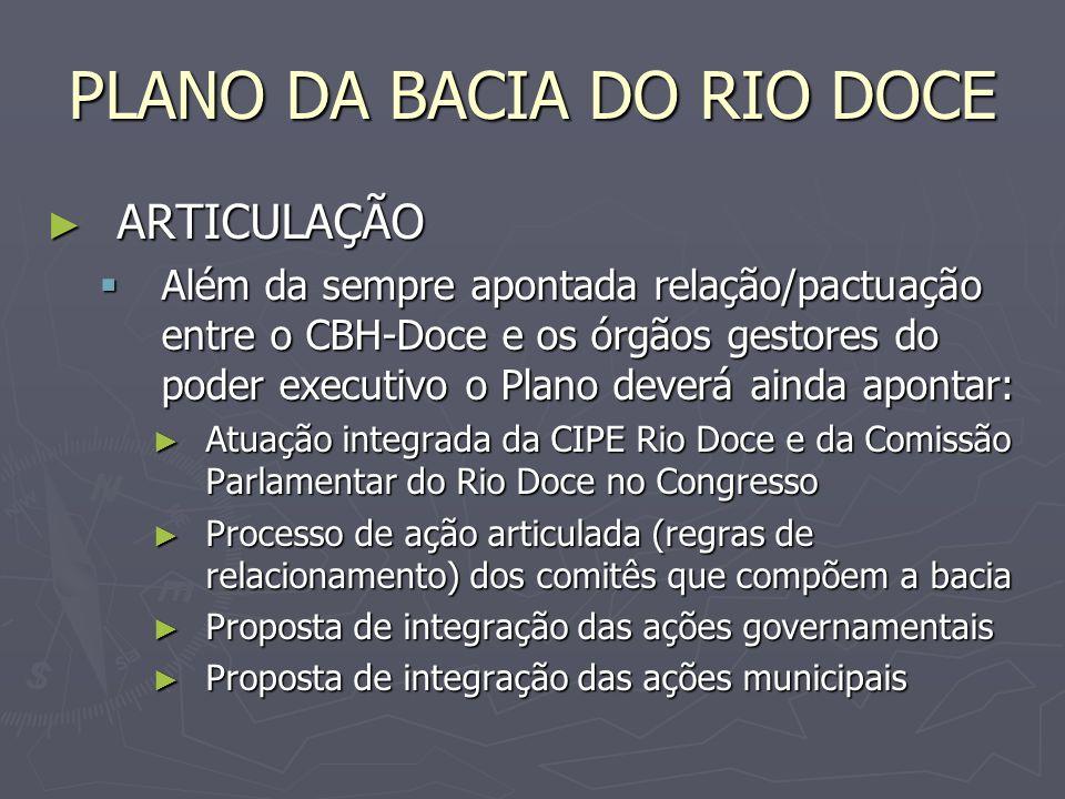 PLANO DA BACIA DO RIO DOCE ESTRATÉGIA / EXECUÇÃO ESTRATÉGIA / EXECUÇÃO O Plano assim proposto pode ser sintetizado no enquadramento integrado dos cursos de água da bacia, desde que se empregue a metodologia da efetiva participação de todos no processo da definição: O Plano assim proposto pode ser sintetizado no enquadramento integrado dos cursos de água da bacia, desde que se empregue a metodologia da efetiva participação de todos no processo da definição: do rio que queremos, do rio que queremos, do rio que podemos, do rio que podemos, do rio que buscamos, do rio que buscamos, partindo-se do rio que temos partindo-se do rio que temos