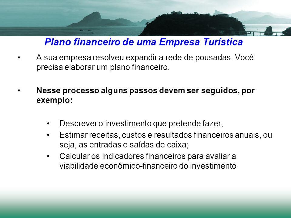 Plano financeiro de uma Empresa Turística A sua empresa resolveu expandir a rede de pousadas. Você precisa elaborar um plano financeiro. Nesse process