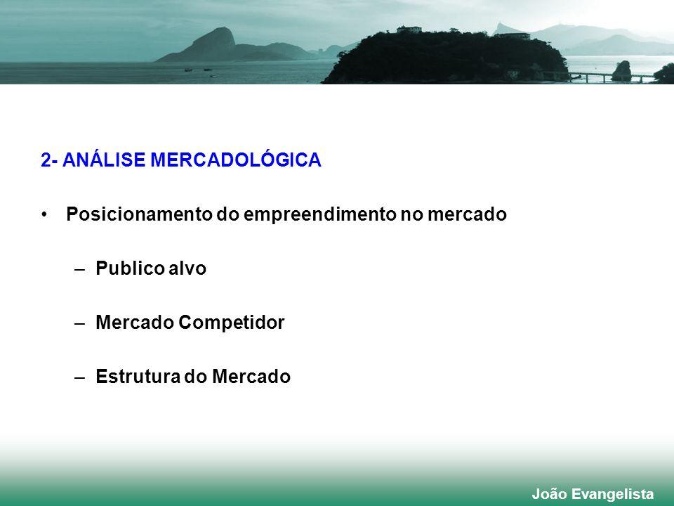 2- ANÁLISE MERCADOLÓGICA Posicionamento do empreendimento no mercado –Publico alvo –Mercado Competidor –Estrutura do Mercado João Evangelista