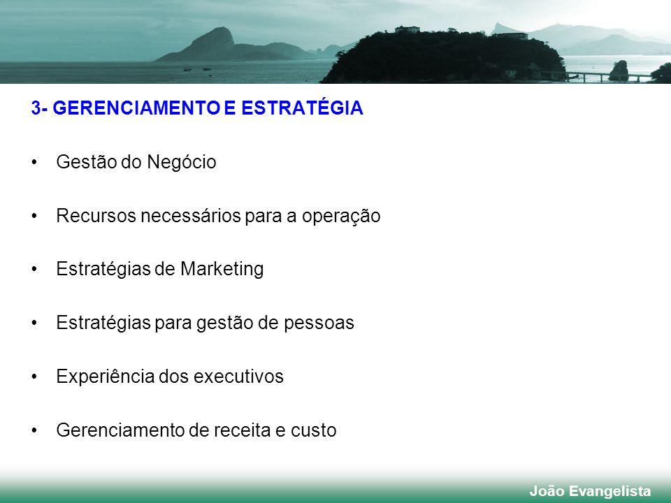 3- GERENCIAMENTO E ESTRATÉGIA Gestão do Negócio Recursos necessários para a operação Estratégias de Marketing Estratégias para gestão de pessoas Exper