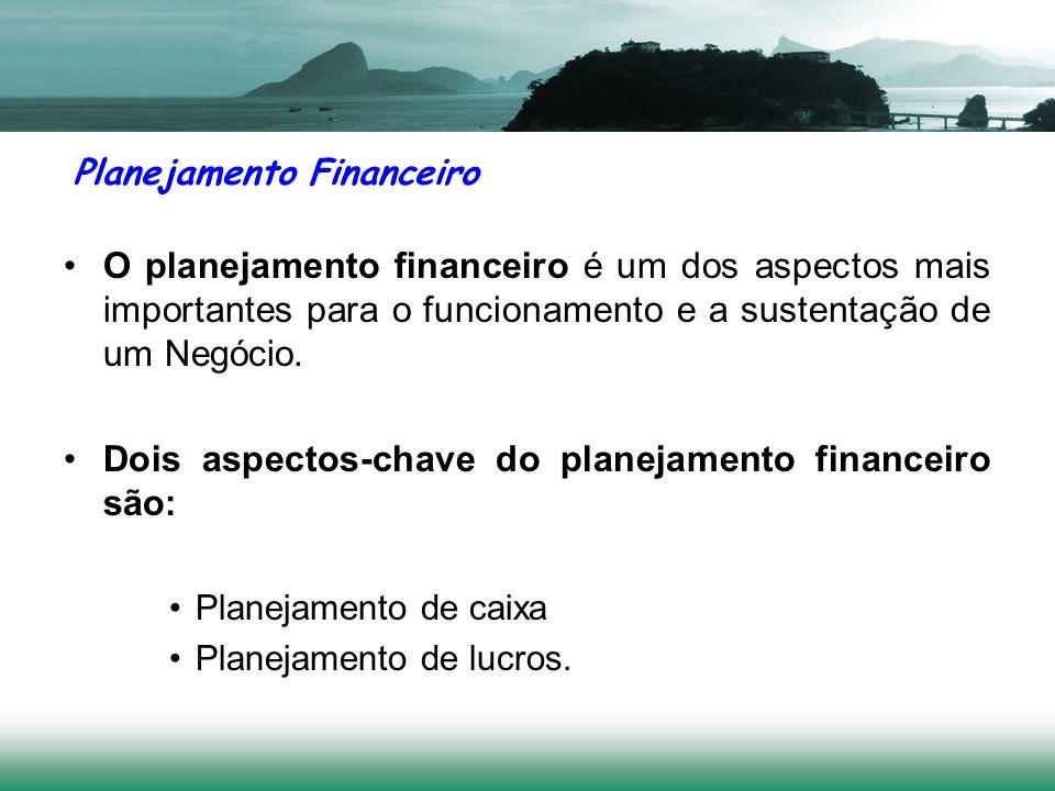 Planejamento Financeiro O planejamento financeiro é um dos aspectos mais importantes para o funcionamento e a sustentação de um Negócio. Dois aspectos