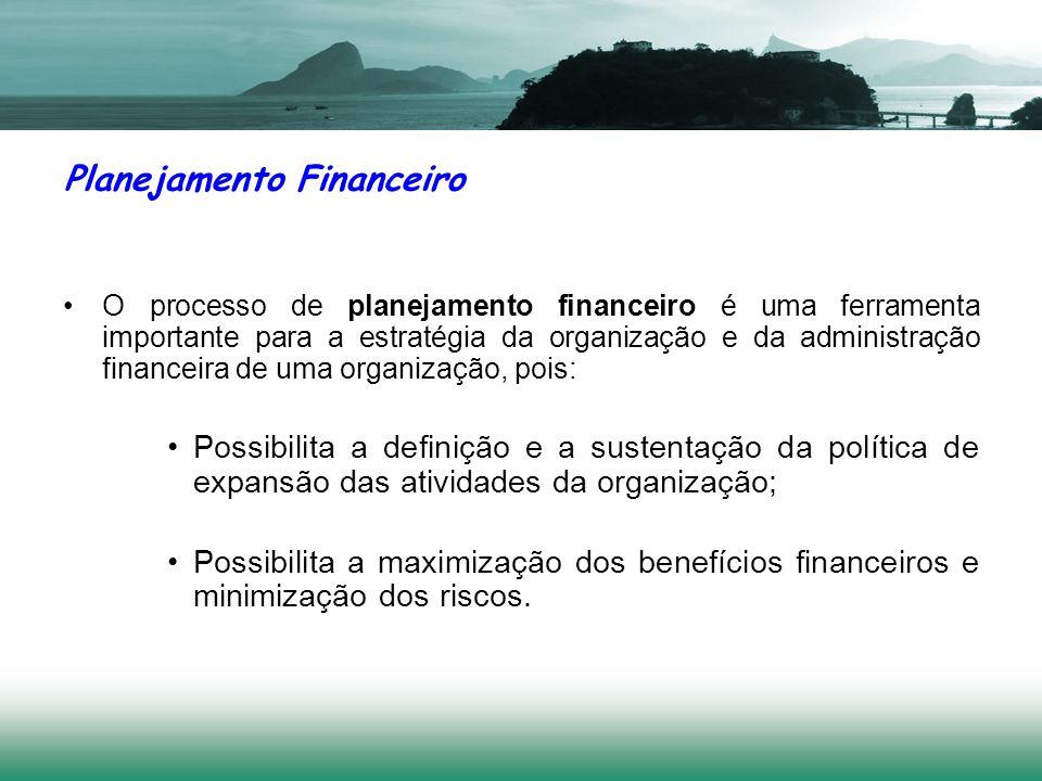 O processo de planejamento financeiro é uma ferramenta importante para a estratégia da organização e da administração financeira de uma organização, p