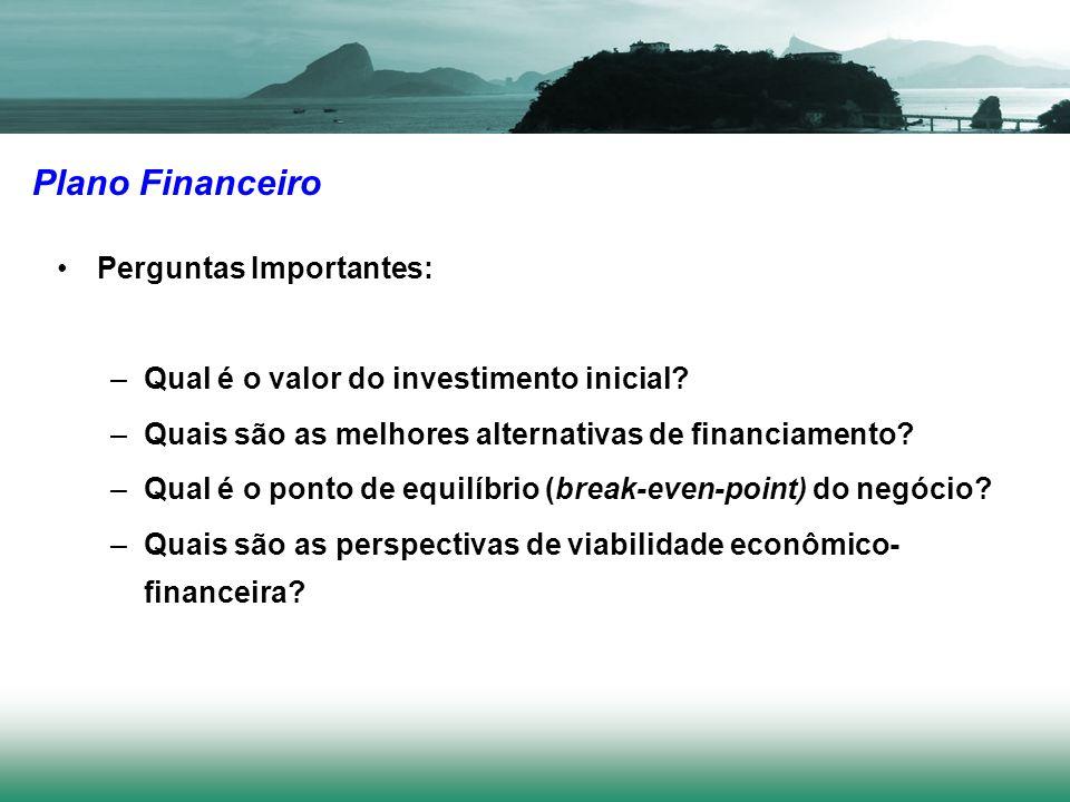 Plano Financeiro Perguntas Importantes: –Qual é o valor do investimento inicial? –Quais são as melhores alternativas de financiamento? –Qual é o ponto