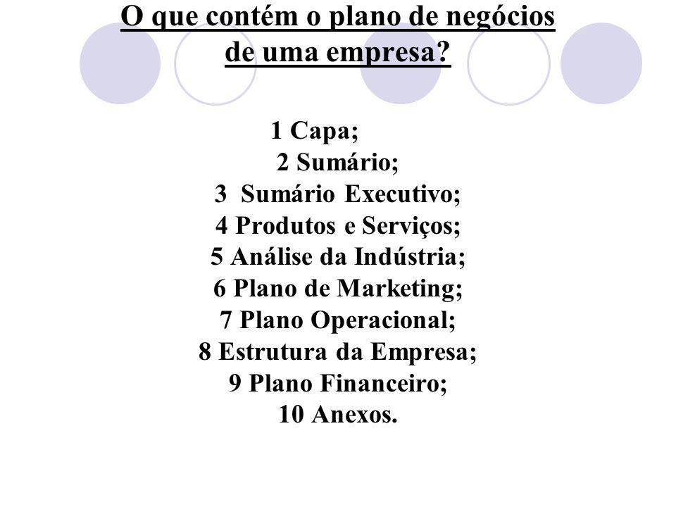 O que contém o plano de negócios de uma empresa? 1 Capa; 2 Sumário; 3 Sumário Executivo; 4 Produtos e Serviços; 5 Análise da Indústria; 6 Plano de Mar