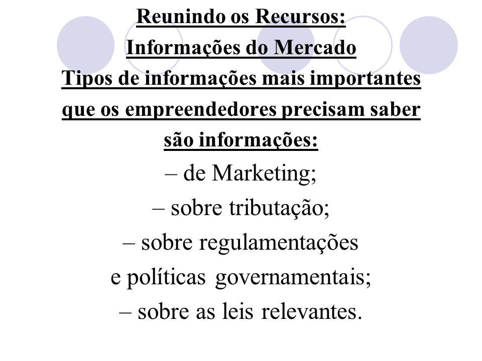 Reunindo os Recursos: Informações do Mercado Tipos de informações mais importantes que os empreendedores precisam saber são informações: – de Marketin
