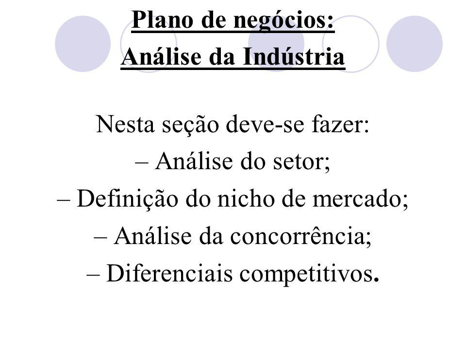 Plano de negócios: Análise da Indústria Nesta seção deve-se fazer: – Análise do setor; – Definição do nicho de mercado; – Análise da concorrência; – D