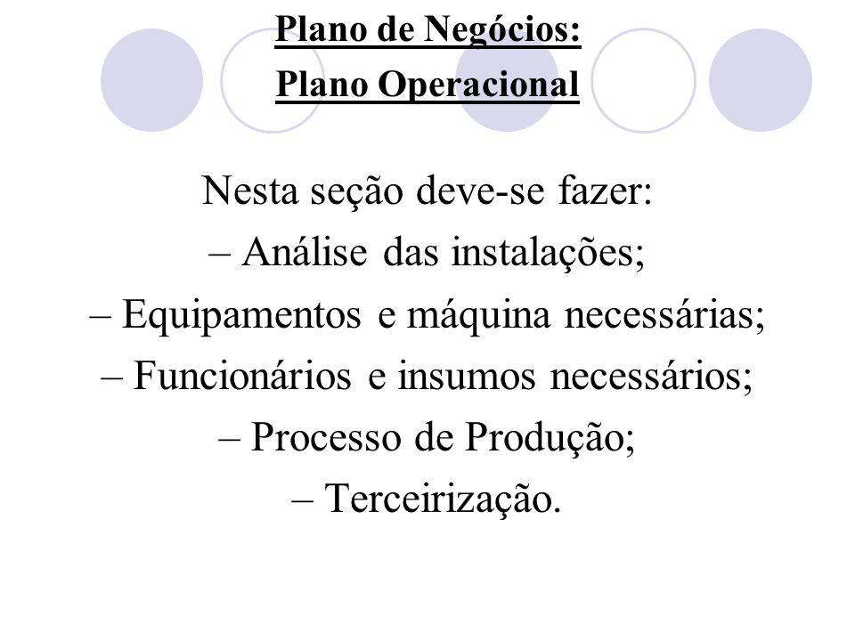 Plano de Negócios: Plano Operacional Nesta seção deve-se fazer: – Análise das instalações; – Equipamentos e máquina necessárias; – Funcionários e insu