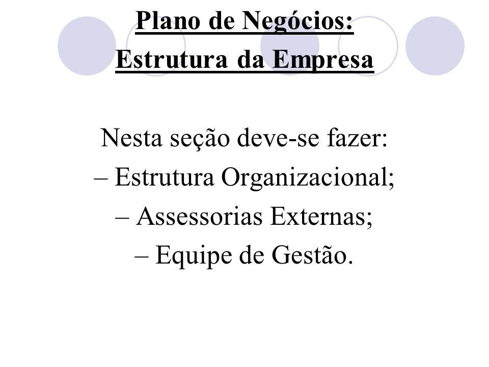 Plano de Negócios: Estrutura da Empresa Nesta seção deve-se fazer: – Estrutura Organizacional; – Assessorias Externas; – Equipe de Gestão.