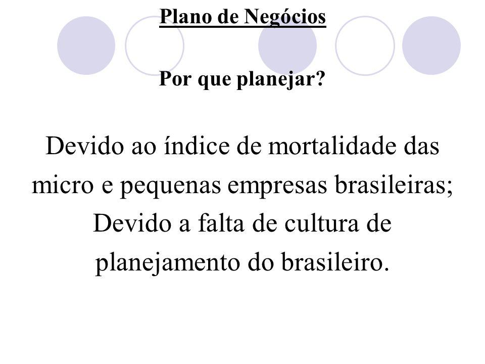 Plano de Negócios Por que planejar? Devido ao índice de mortalidade das micro e pequenas empresas brasileiras; Devido a falta de cultura de planejamen