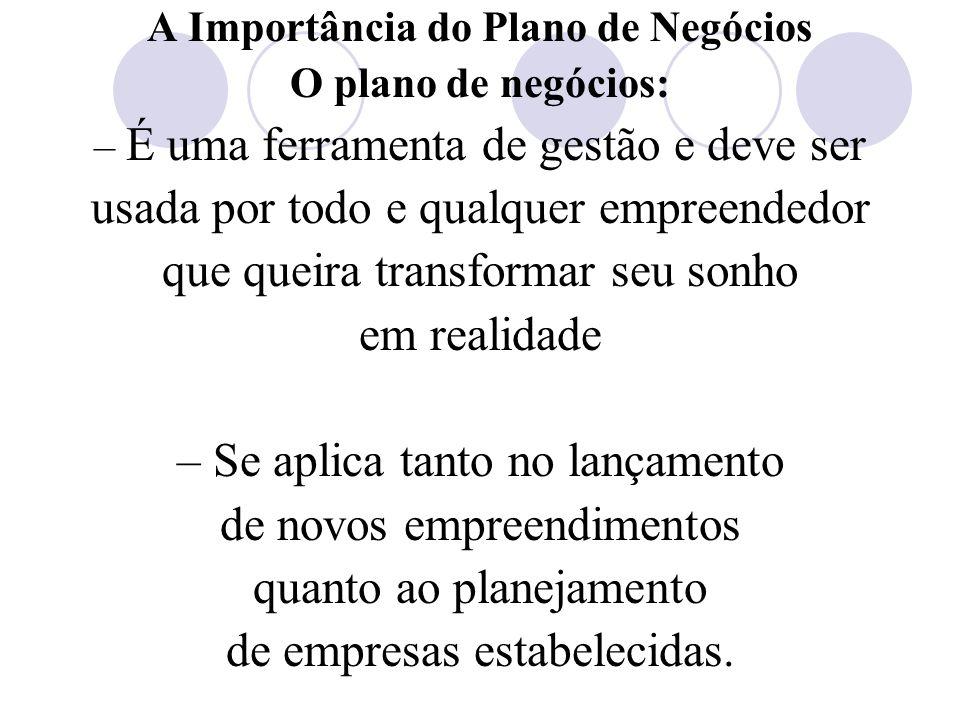 A Importância do Plano de Negócios O plano de negócios: – É uma ferramenta de gestão e deve ser usada por todo e qualquer empreendedor que queira tran