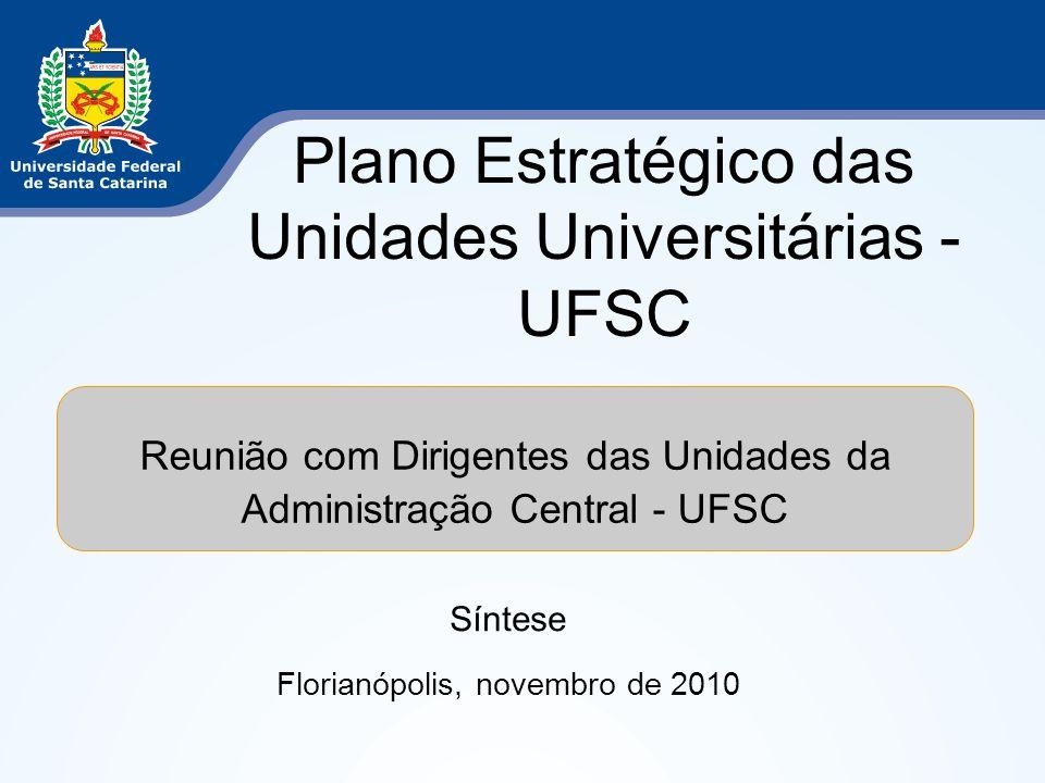 Plano Estratégico das Unidades Universitárias - UFSC Síntese Florianópolis, novembro de 2010 Reunião com Dirigentes das Unidades da Administração Cent