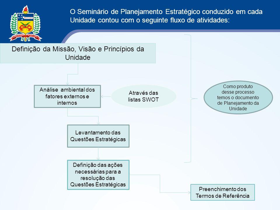O Seminário de Planejamento Estratégico conduzido em cada Unidade contou com o seguinte fluxo de atividades: Análise ambiental dos fatores externos e