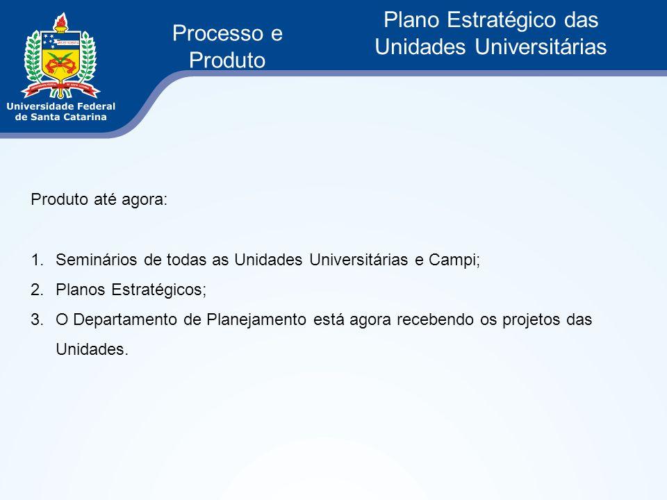 Processo e Produto Plano Estratégico das Unidades Universitárias Produto até agora: 1.Seminários de todas as Unidades Universitárias e Campi; 2.Planos