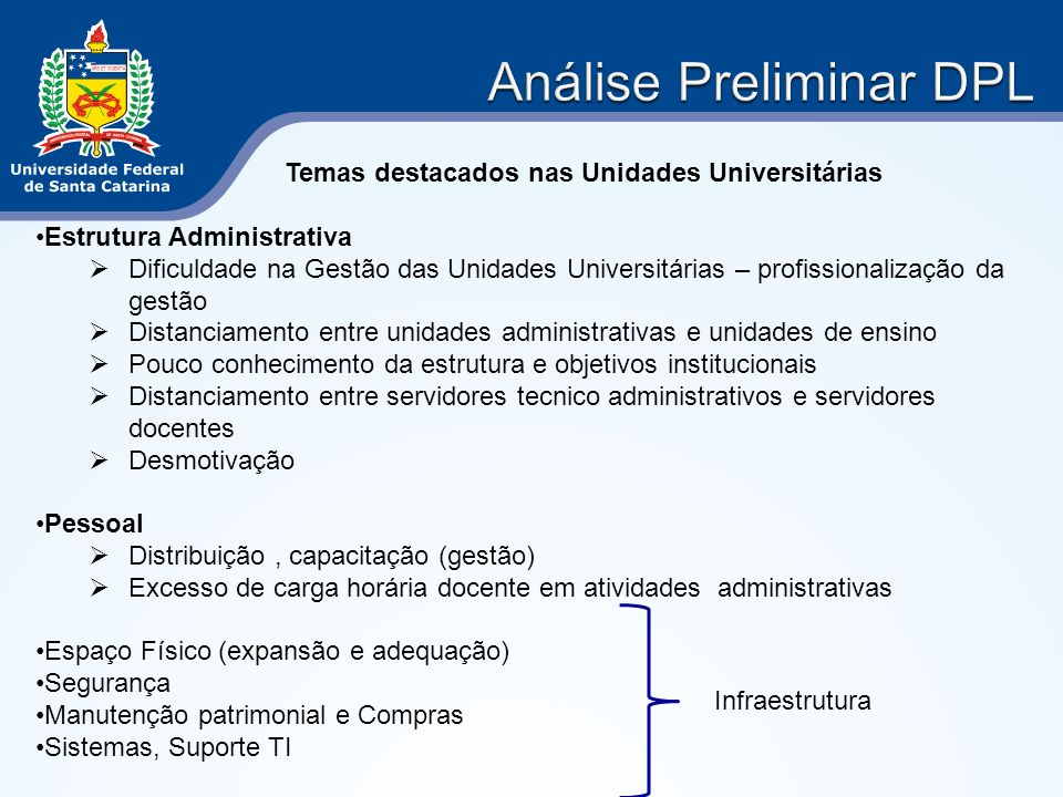 Temas destacados nas Unidades Universitárias Estrutura Administrativa Dificuldade na Gestão das Unidades Universitárias – profissionalização da gestão