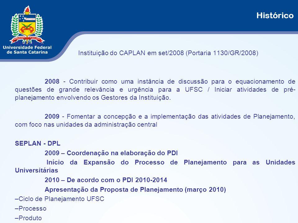 Histórico Instituição do CAPLAN em set/2008 (Portaria 1130/GR/2008) 2008 - Contribuir como uma instância de discussão para o equacionamento de questõe