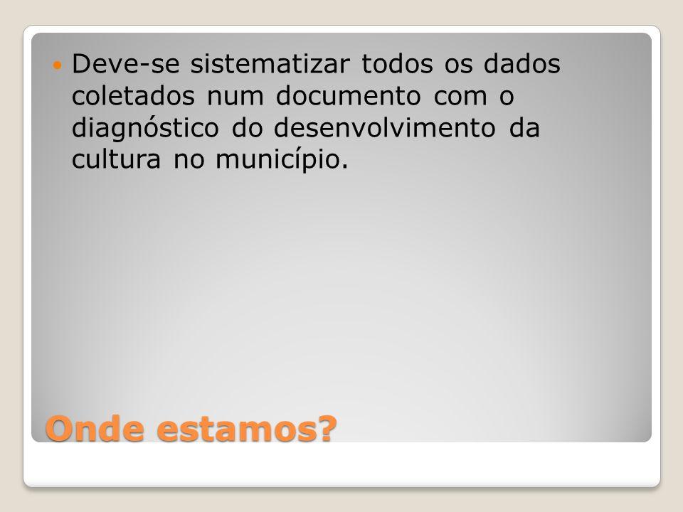 Onde estamos? Deve-se sistematizar todos os dados coletados num documento com o diagnóstico do desenvolvimento da cultura no município.