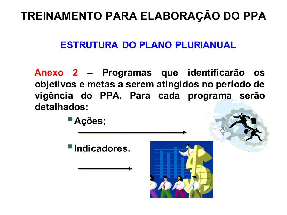 TREINAMENTO PARA ELABORAÇÃO DO PPA ESTRUTURA DO PLANO PLURIANUAL Anexo 2 – Programas que identificarão os objetivos e metas a serem atingidos no perío