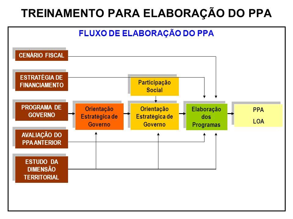 TREINAMENTO PARA ELABORAÇÃO DO PPA FLUXO DE ELABORAÇÃO DO PPA CENÁRIO FISCAL ESTRATÉGIA DE FINANCIAMENTO PROGRAMA DE GOVERNO AVALIAÇÃO DO PPA ANTERIOR
