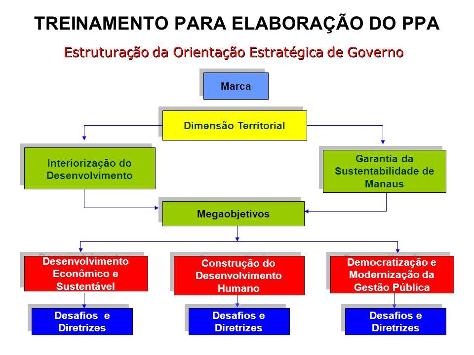 TREINAMENTO PARA ELABORAÇÃO DO PPA Marca Dimensão Territorial Interiorização do Desenvolvimento Garantia da Sustentabilidade de Manaus Megaobjetivos D