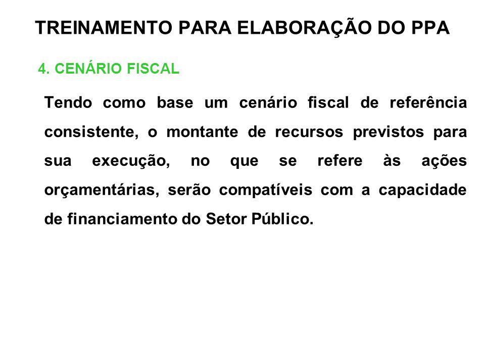 TREINAMENTO PARA ELABORAÇÃO DO PPA 4. CENÁRIO FISCAL Tendo como base um cenário fiscal de referência consistente, o montante de recursos previstos par