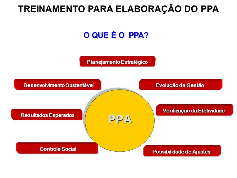 PPAPPA Planejamento Estrat é gico Desenvolvimento Sustent á vel Evolu ç ão da Gestão Resultados Esperados Verifica ç ão da Efetividade Possibilidade d