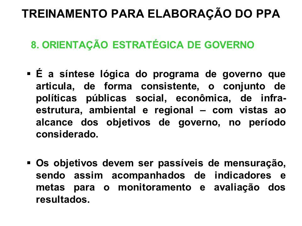 TREINAMENTO PARA ELABORAÇÃO DO PPA 8. ORIENTAÇÃO ESTRATÉGICA DE GOVERNO É a síntese lógica do programa de governo que articula, de forma consistente,