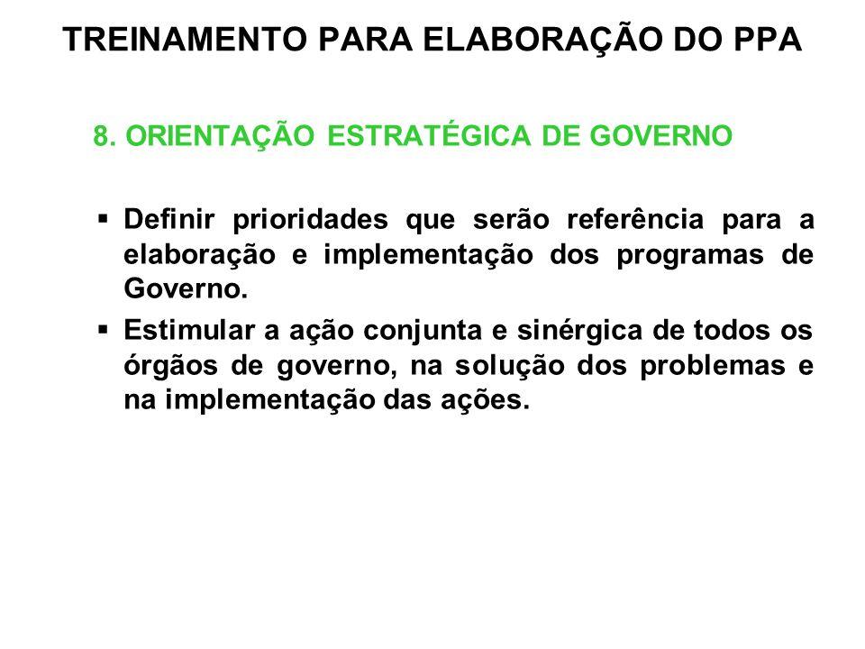 TREINAMENTO PARA ELABORAÇÃO DO PPA 8. ORIENTAÇÃO ESTRATÉGICA DE GOVERNO Definir prioridades que serão referência para a elaboração e implementação dos