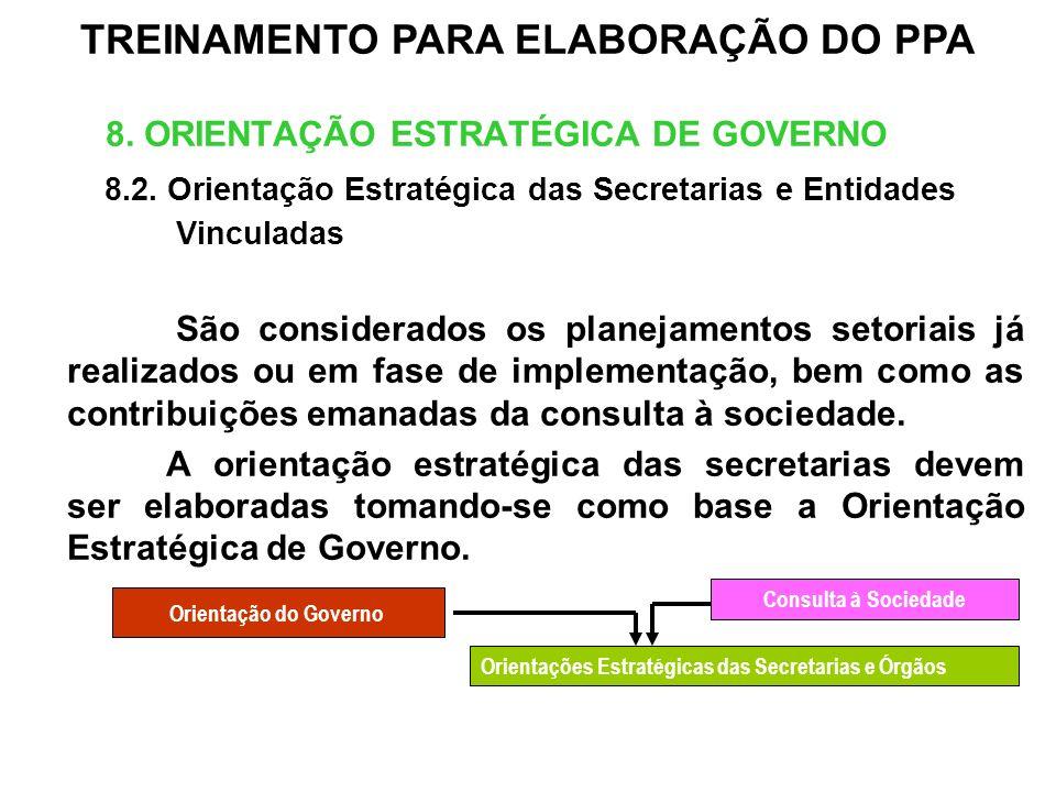8. ORIENTAÇÃO ESTRATÉGICA DE GOVERNO 8.2. Orientação Estratégica das Secretarias e Entidades Vinculadas São considerados os planejamentos setoriais já