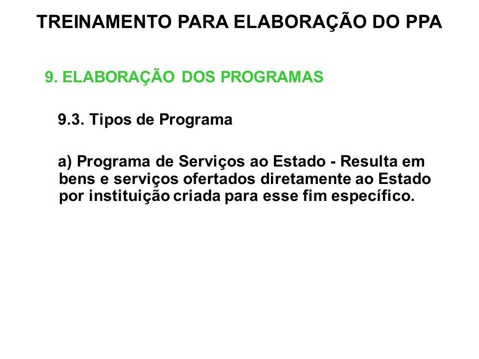 9. ELABORAÇÃO DOS PROGRAMAS 9.3. Tipos de Programa a) Programa de Serviços ao Estado - Resulta em bens e serviços ofertados diretamente ao Estado por