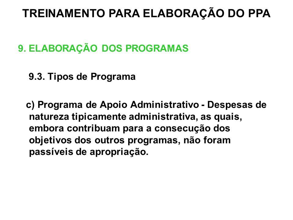 9. ELABORAÇÃO DOS PROGRAMAS 9.3. Tipos de Programa c) Programa de Apoio Administrativo - Despesas de natureza tipicamente administrativa, as quais, em