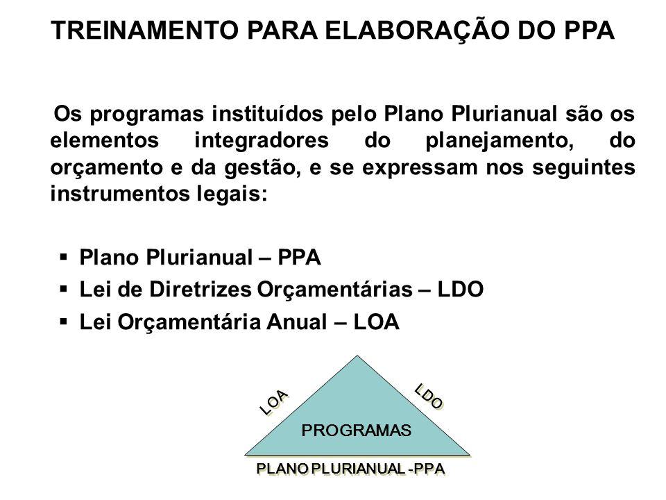 Os programas instituídos pelo Plano Plurianual são os elementos integradores do planejamento, do orçamento e da gestão, e se expressam nos seguintes i