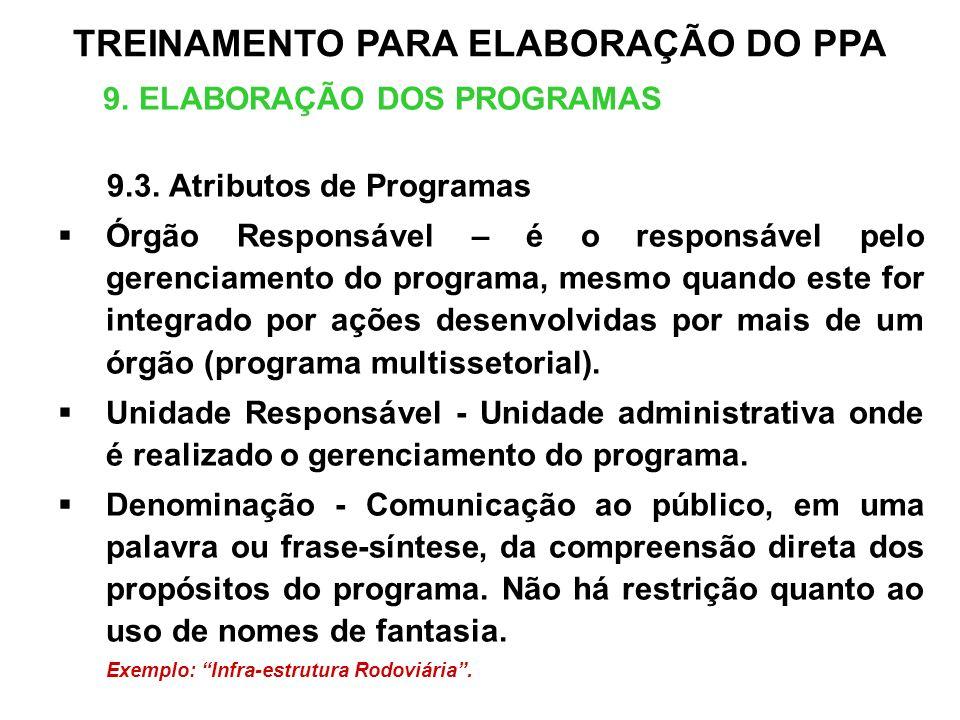 9. ELABORAÇÃO DOS PROGRAMAS 9.3. Atributos de Programas Órgão Responsável – é o responsável pelo gerenciamento do programa, mesmo quando este for inte