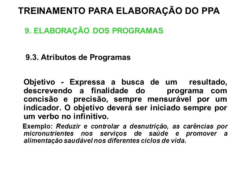 9. ELABORAÇÃO DOS PROGRAMAS 9.3. Atributos de Programas Objetivo - Expressa a busca de um resultado, descrevendo a finalidade do programa com concisão