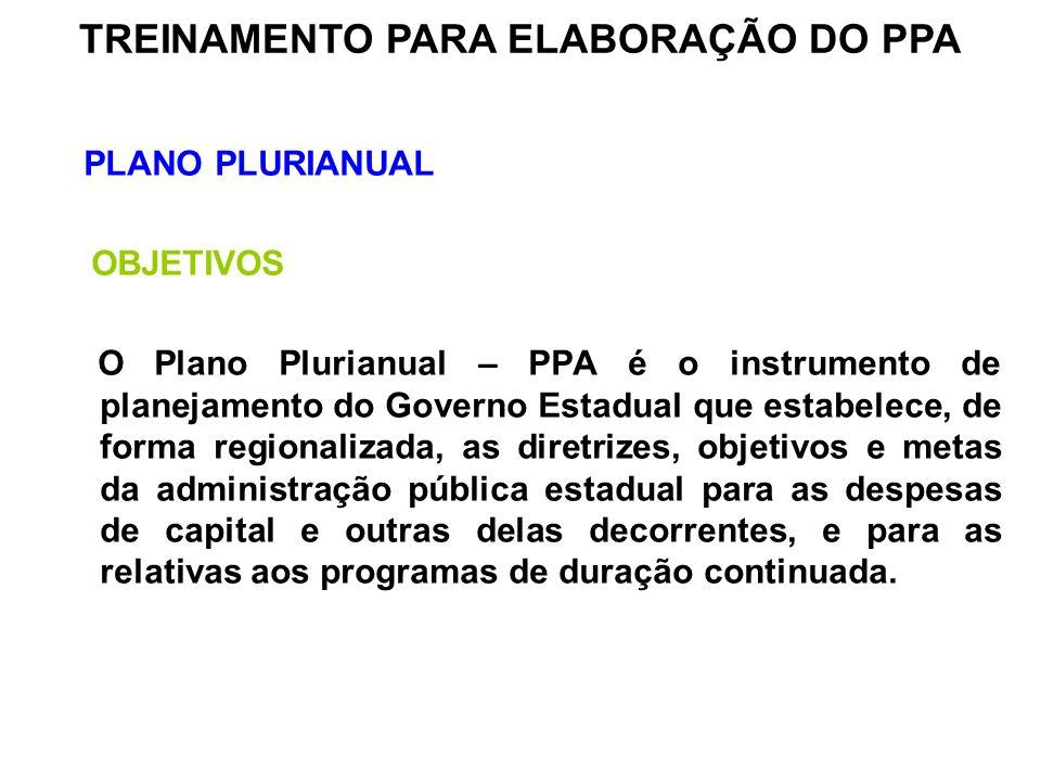 PLANO PLURIANUAL OBJETIVOS O Plano Plurianual – PPA é o instrumento de planejamento do Governo Estadual que estabelece, de forma regionalizada, as dir
