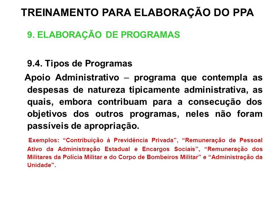 9. ELABORAÇÃO DE PROGRAMAS 9.4. Tipos de Programas Apoio Administrativo – programa que contempla as despesas de natureza tipicamente administrativa, a