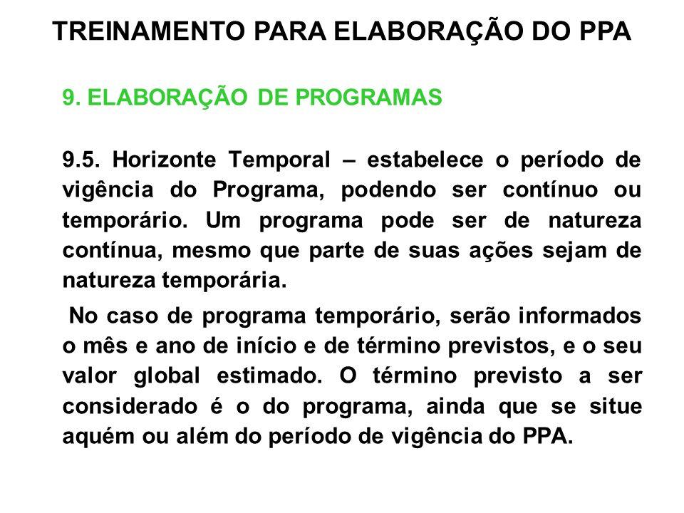 9. ELABORAÇÃO DE PROGRAMAS 9.5. Horizonte Temporal – estabelece o período de vigência do Programa, podendo ser contínuo ou temporário. Um programa pod
