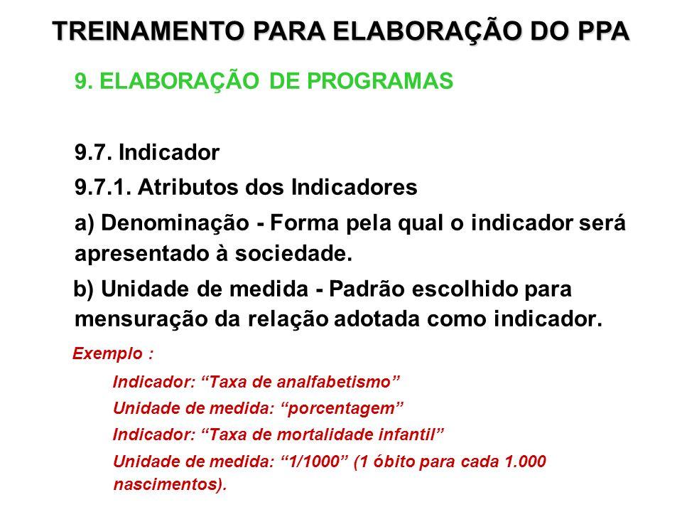9. ELABORAÇÃO DE PROGRAMAS 9.7. Indicador 9.7.1. Atributos dos Indicadores a) Denominação - Forma pela qual o indicador será apresentado à sociedade.