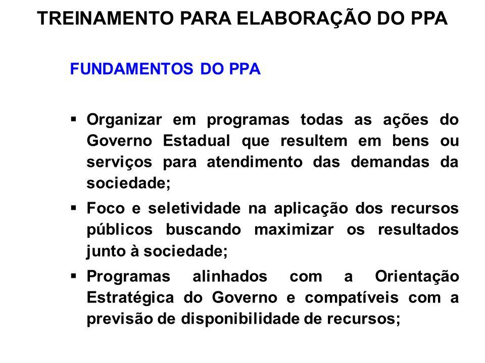 FUNDAMENTOS DO PPA Organizar em programas todas as ações do Governo Estadual que resultem em bens ou serviços para atendimento das demandas da socieda